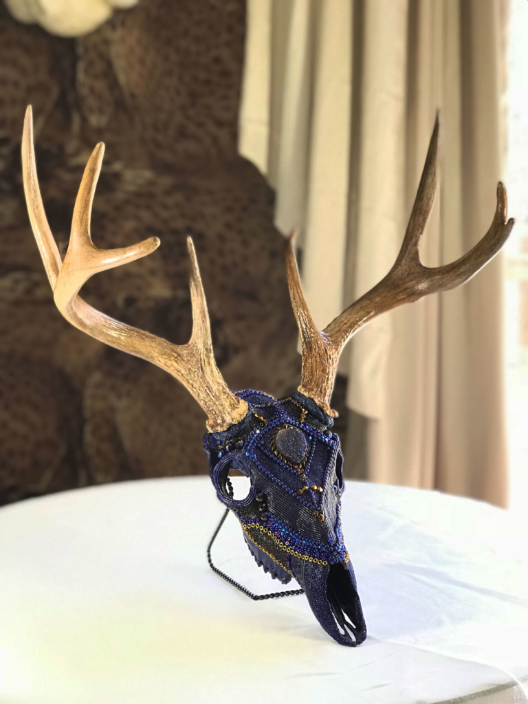 The naming of Blue Moon Shadow, a whitetail deer beaded skull art piece.