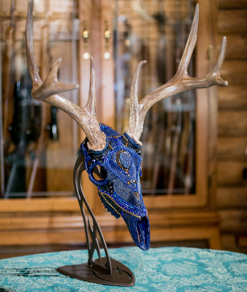 Blue Moon Shadow, Beaded Whitetail deer Skull Mount