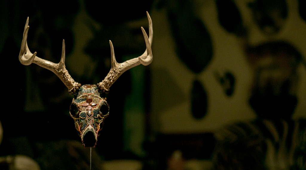 Ancient Warrior whitetail beaded skull art