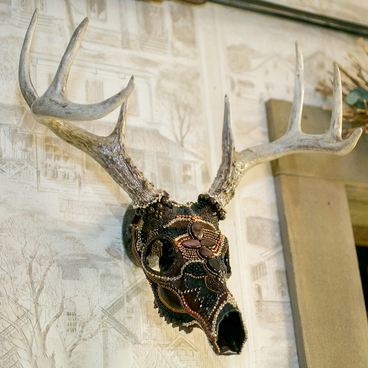 """Ancient Warrior"" Whitetail Buck Beaded Skull Mount"