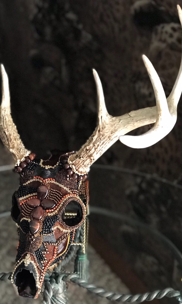 Ancient Warrior whitetail deer beaded skull art piece