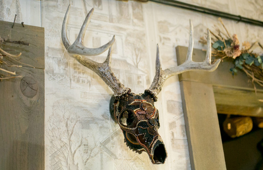 Ancient Warrior Whitetail Buck Beaded Skull Wall Mount