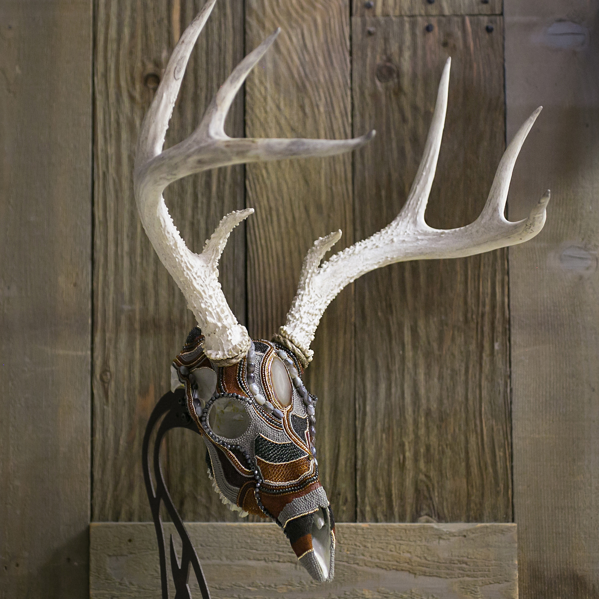 """Mysterious"" Whitetail Buck Beaded Skull Mount"