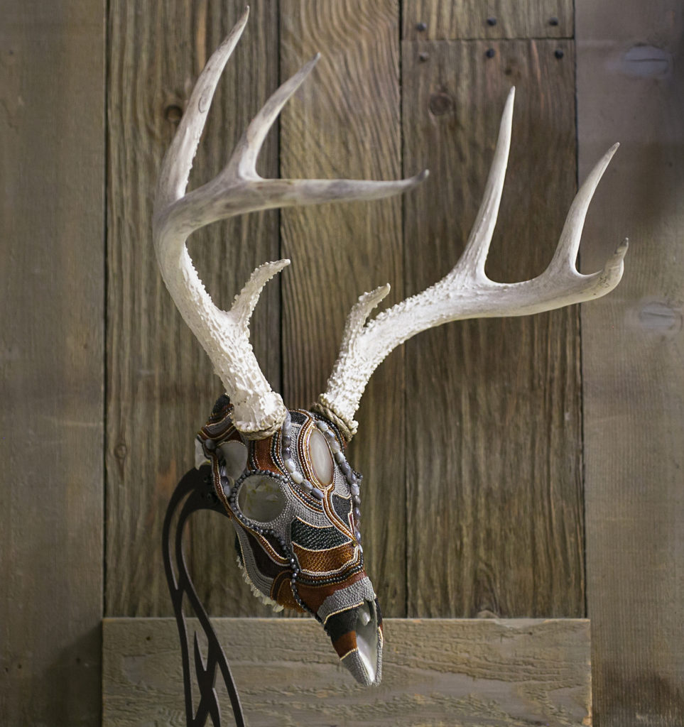 """Mysterious"", a whitetail buck rustic-chic beaded skull art taxidermy alternative three quarter view"