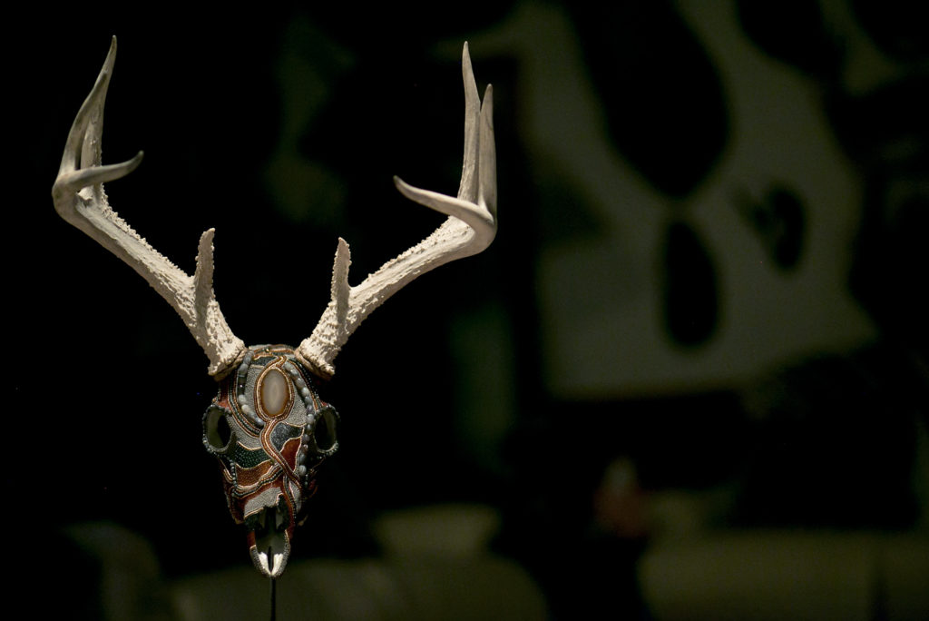 Mysterious, a whitetail buck rustic-chic beaded skull art taxidermy alternative