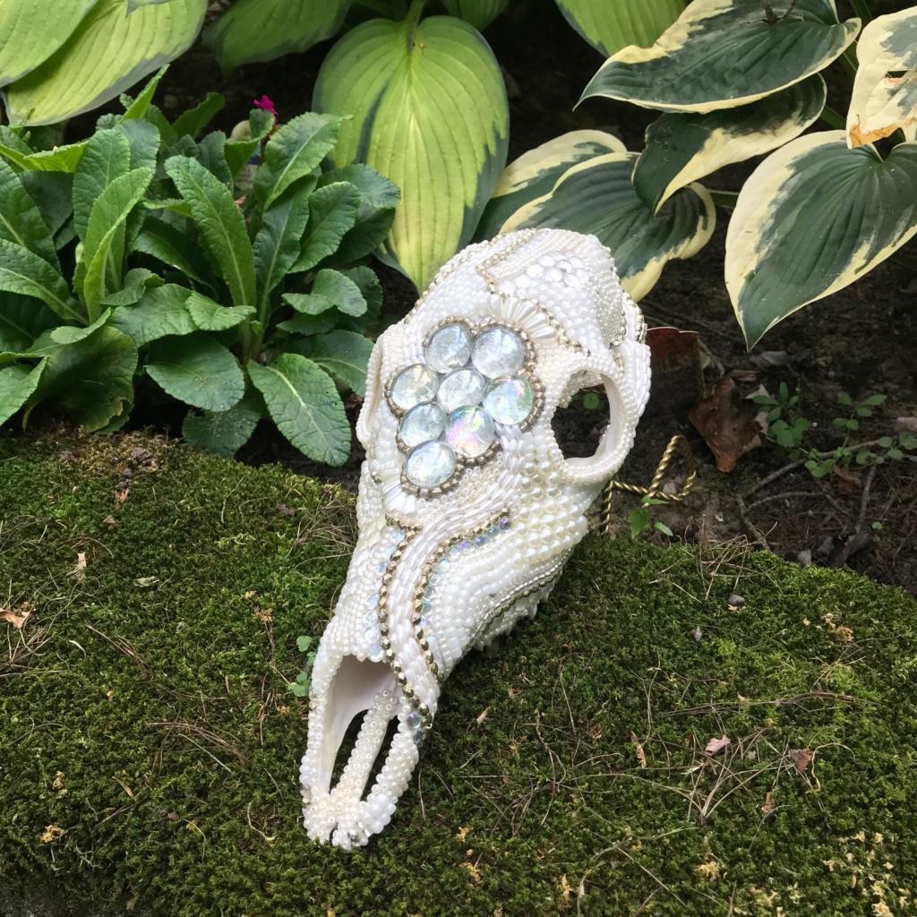 White Doe Beaded Skull Art