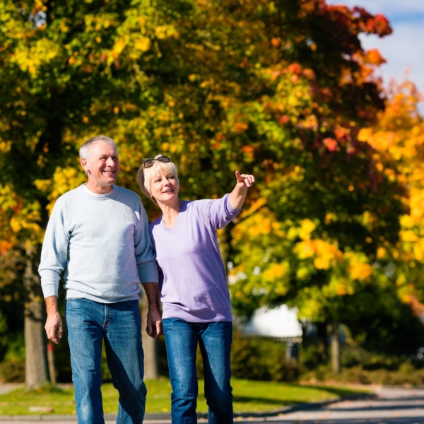 Couple enjoying an autumn stroll