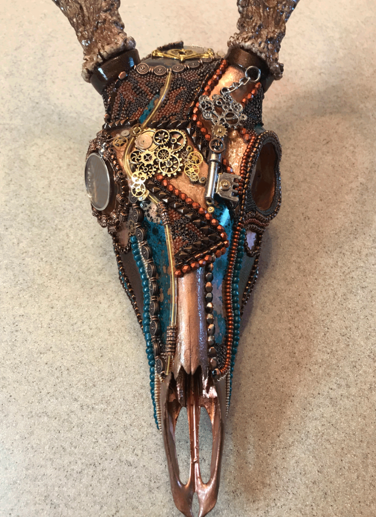 Grand Chaos, whitetail buck beaded skull Steampunk deer art, top view.