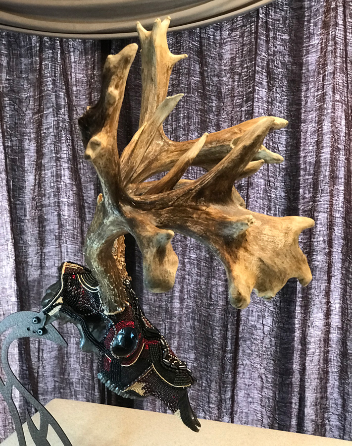 Thor, a whitetail beaded skull art piece.